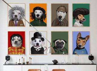 Modern-Dog-Animal-Dress-Up-Funny-Star-Modeling-A4-Canvas-Art-Painting-Print-Poster-Picture